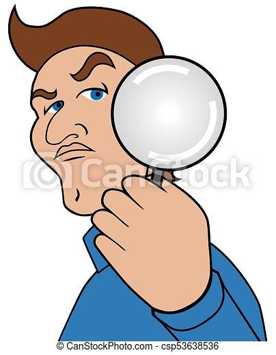 Cartoon Man with Magnifier - csp53638536