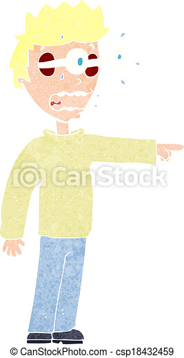 cartoon man with popping out eyes - csp18432459