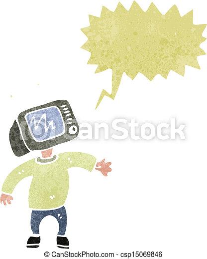 cartoon man with TV head - csp15069846