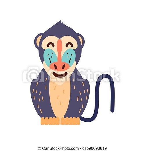 cartoon mandrill baboon - csp90693619
