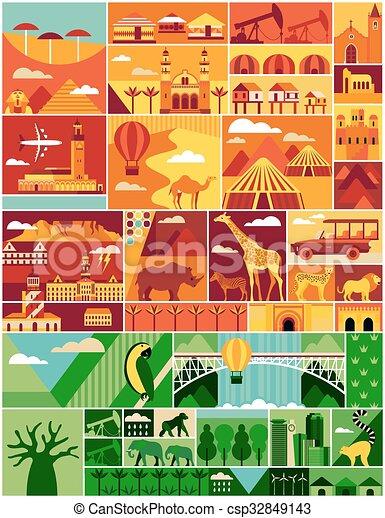 Cartoon Map Of Africa Africa Pattern Africa Vector Illustration