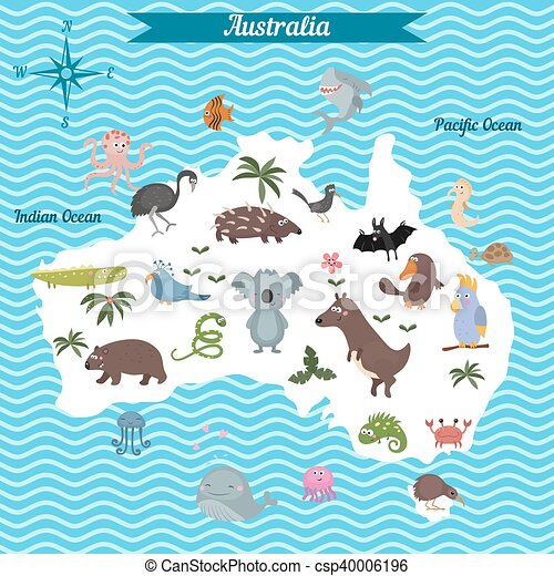 cartoon map of australia continent with different animals colorful cartoon illustration for children and kids australia mammals and sea life cartoon