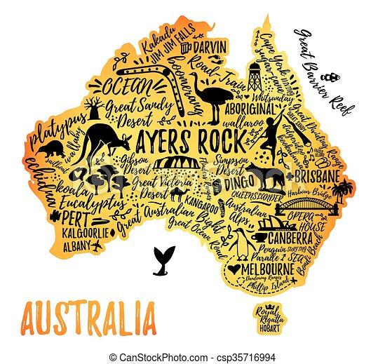 Map Of Australian Landscapes.Cartoon Map Of Australia