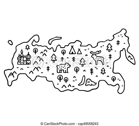 cartoon map of russia cute cartoon hand drawn map of russia with nature and animals black and white coloring book https www canstockphoto com cartoon map of russia 49558243 html