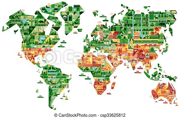 Cartoon map of south america cartoon world map with landscape and cartoon map of south america csp33625812 gumiabroncs Image collections