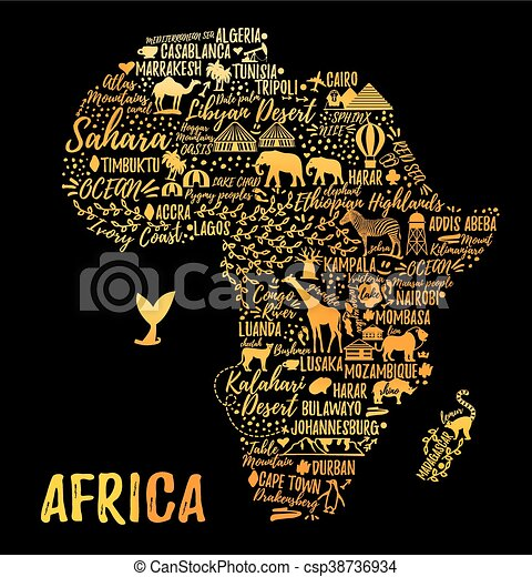 Cartoon Map Vectoe Illustration Typography Poster Africa Map
