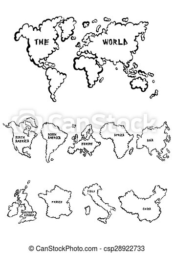 cartoon maps collection that include a world map a selection of continents and countries can stock photo