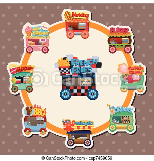 Cartoon market store car card - csp7459059