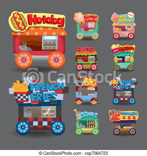 Cartoon market store car icon collection - csp7064723