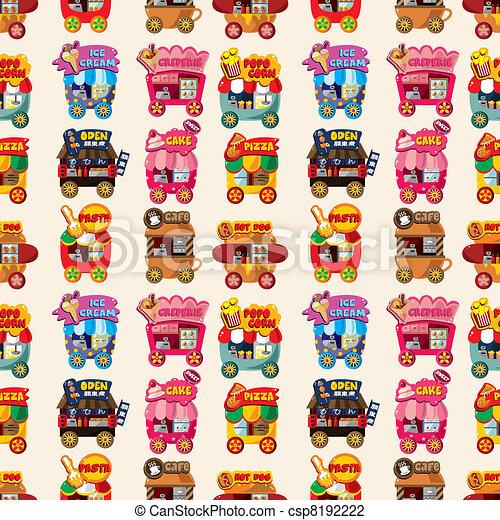 Cartoon market store car seamless pattern - csp8192222