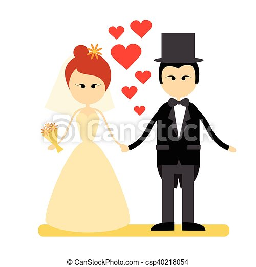 Cartoon Marriage Couple Fiance And Bride Wear Wedding Dress Holding Hands - csp40218054