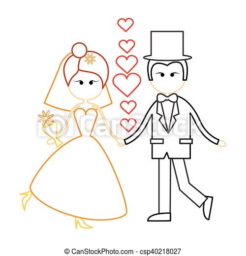 Cartoon Marriage Couple Fiance And Bride Wear Wedding Dress Holding Hands Dancing - csp40218027