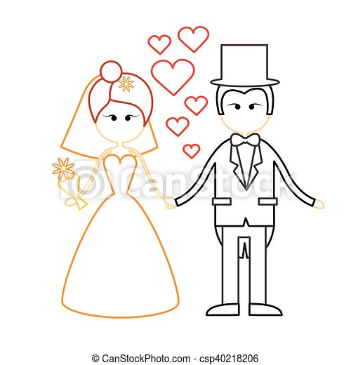 Cartoon Marriage Couple Fiance And Bride Wear Wedding Dress Holding Hands - csp40218206