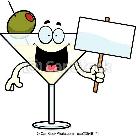 Cartoon Martini Sign - csp23546171