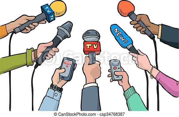 cartoon media interview on a white background vector illustration rh canstockphoto com media clipart black and white media clip art images