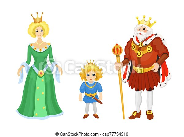 Cartoon Medieval characters. Fairy tale King queen and prince icons. Fairytale fantasy vector set - csp77754310