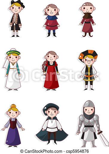 cartoon medieval people  - csp5954876