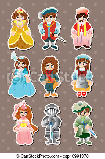 cartoon medieval people stickers - csp10991378