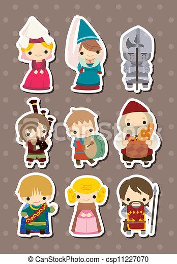 cartoon Medieval people stickers - csp11227070