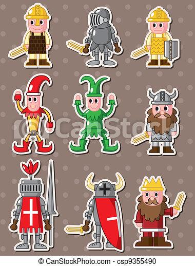 cartoon medieval people stickers - csp9355490