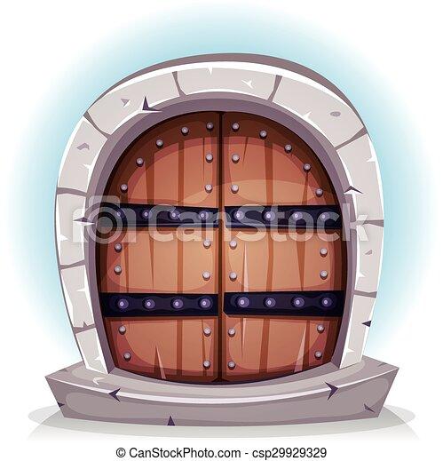 Cartoon Medieval Wood And Stone Door - csp29929329  sc 1 st  Can Stock Photo & Cartoon medieval wood and stone door. Illustration of a cartoon ...