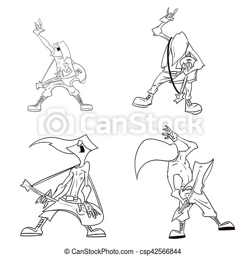 Cartoon metal musicians. Line drawing vector illustration of a heavy ...