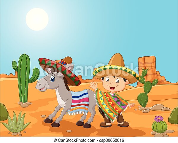 Vector Illustration Of Cartoon Mexican Boy With Donkey In The Desert