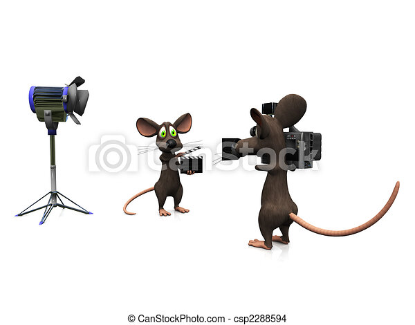Line Drawing Mouse : Cartoon mice filming. a mouse holding film drawing
