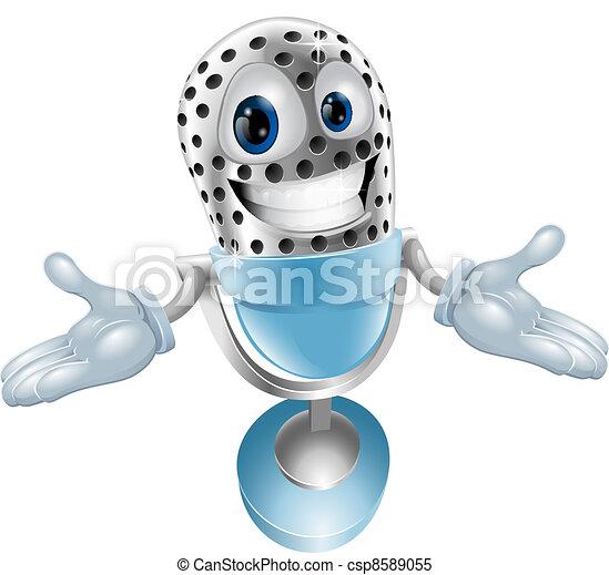 Cartoon microphone mascot - csp8589055