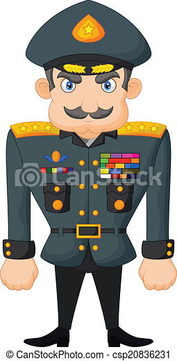 vector illustration of cartoon military general