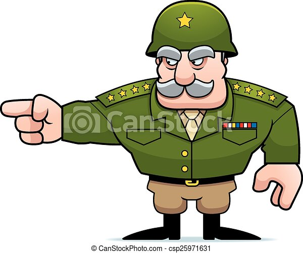Cartoon Military General Pointing - csp25971631