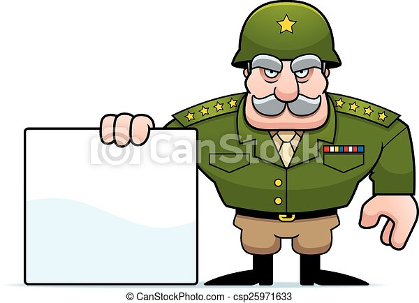 Cartoon Military General Sign - csp25971633