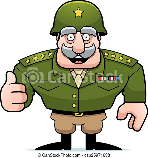 cartoon military general thumbs up an illustration of a vectors rh canstockphoto com military clip art images military clip art for kids