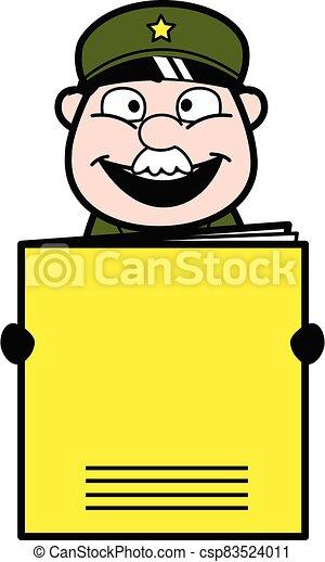 Cartoon Military Man holding a paper banner - csp83524011