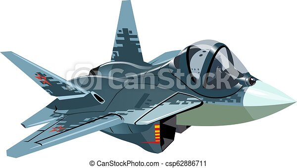 Cartoon Military Stealth Jet Fighter Plane Isolated - csp62886711