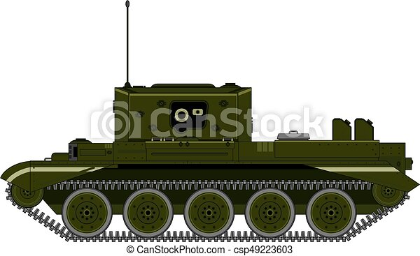 Cartoon Military Tank Side View - csp49223603