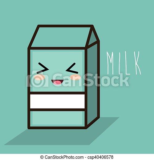 Cartoon Milk Box Blue Design Vector Illustration Eps 10