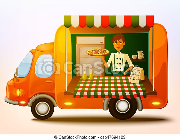 Cartoon Mobile Italian Food Truck With Cooker Vector