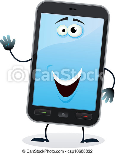 cartoon mobile phone character illustration of a cartoon happy rh canstockphoto com Restaurant Clip Art No Cell Phone Clip Art