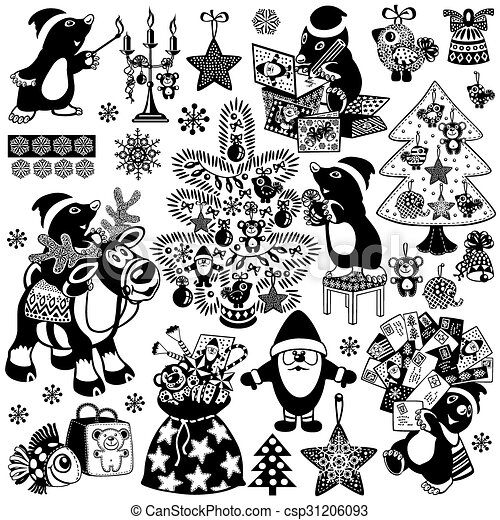 Cartoon Mole And Christman Black White Set Set With Cartoon Mole Prepare The House For Christmas Or New Years Black And
