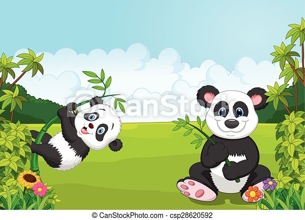 Cartoon mom and baby panda climbing - csp28620592
