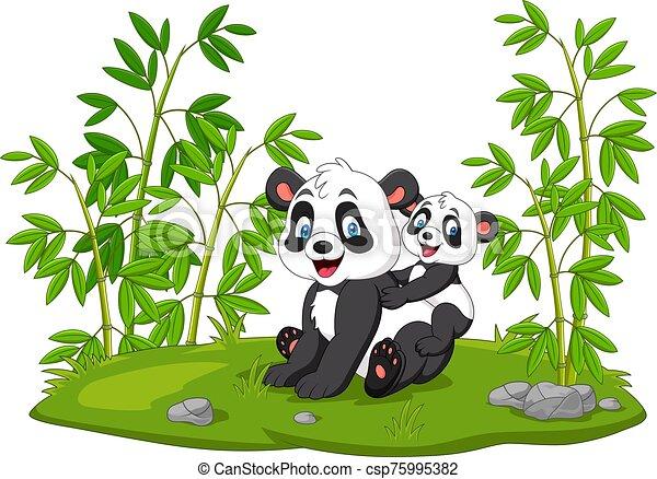 Cartoon mom and baby panda in the bamboo tree - csp75995382