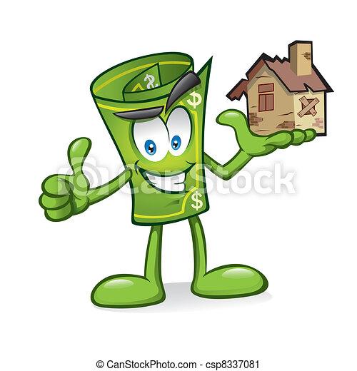 Cartoon money with damaged homes - csp8337081