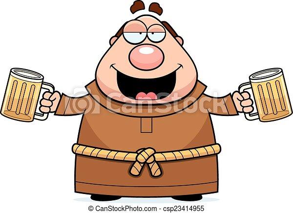 Cartoon Monk Beer - csp23414955