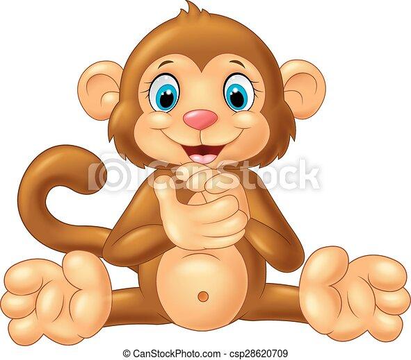 Cartoon monkey clapping hand - csp28620709