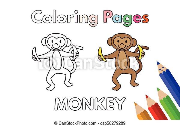 Cartoon monkey coloring book. Cartoon monkey illustration. vector ...