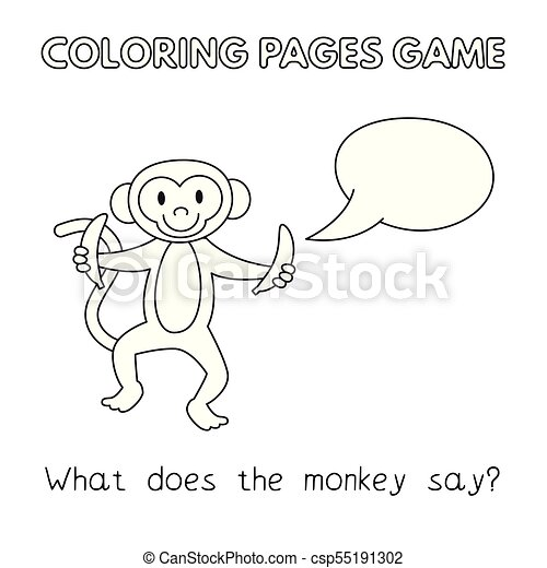 Cartoon monkey coloring book. Funny monkey kids learning game ...