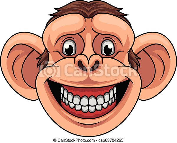 Cartoon monkey head mascot - csp63784265