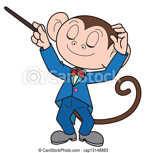 cartoon monkey music conductor cartoon monkey music conductor rh canstockphoto com conductor clipart black and white music conductor clipart