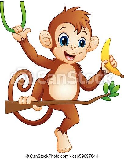 Cartoon monkey on a branch tree and holding banana - csp59637844